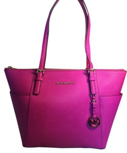 Michael Kors Leather Fuchsia Tote in Pink