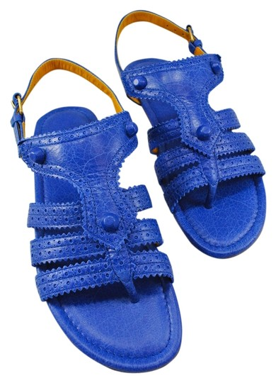 Balenciaga Leather Blue Flat Cobalt Blue Sandals