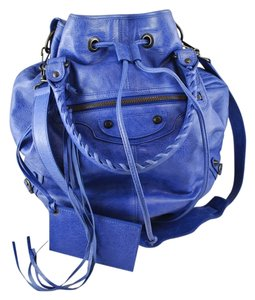 Balenciaga Leather Blue Pompom Ponpom Pompon Top-handles Cross Body Bag