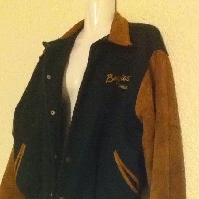 Boogie's Diner Las Vegas Suede Leather Green Wool Sports Hunter Green Leather Jacket