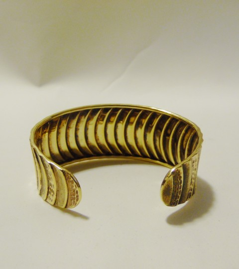 Technibond Technibond Gold Plated Over .925 Sterling Silver Adjustable Cuff Bracelet Size 7 Inch