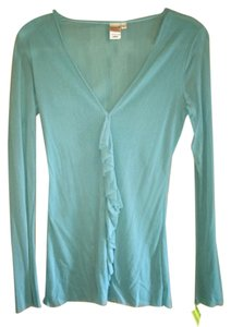 Sweet Pea by Stacy Frati Mesh Ruffle V-neck Top Aqua