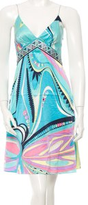 Emilio Pucci Mulicolor V-neck Sleeveless Silk Print Floral Dress