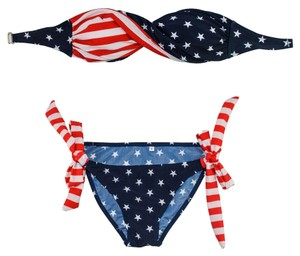 BRAND NEW Patriotic American Flag Bikini Swimsuit, Red, White, & Blue with Stars Stripes Two-Piece America Bandeau
