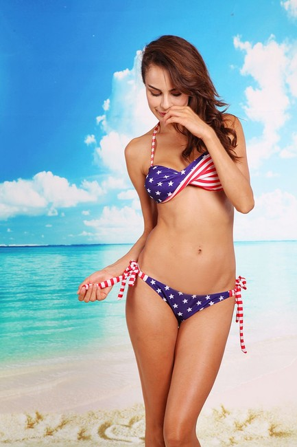 Other BRAND NEW Patriotic American Flag Bikini Swimsuit, Red, White, & Blue with Stars Stripes Two-Piece America Bandeau