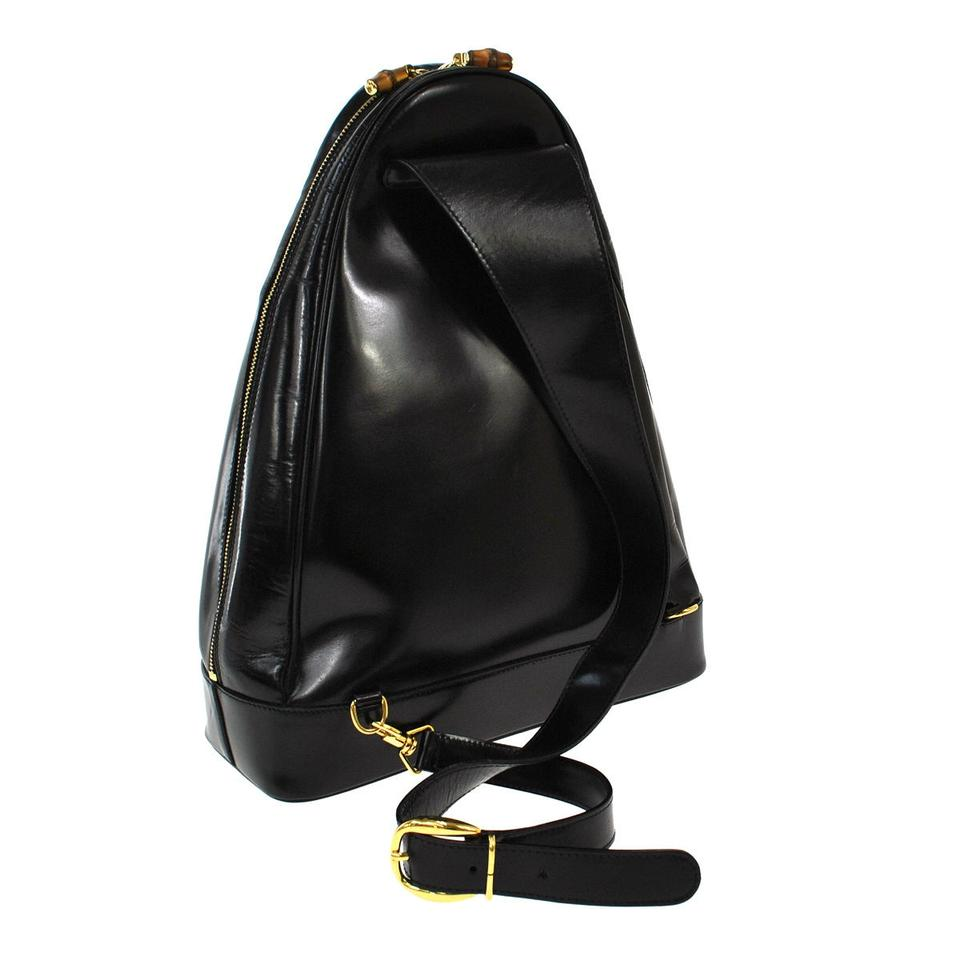 eb07fbddde0c Gucci bamboo one shoulder italy vintage balck leather backpack tradesy jpg  960x960 One shoulder leather backpacks