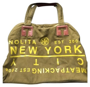 Tory Burch Satchel in Army Green And Yellow
