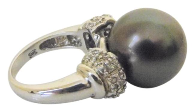 Item - .925 Sterling Silver Faux South Sea Black Pearl Size 7 Ring