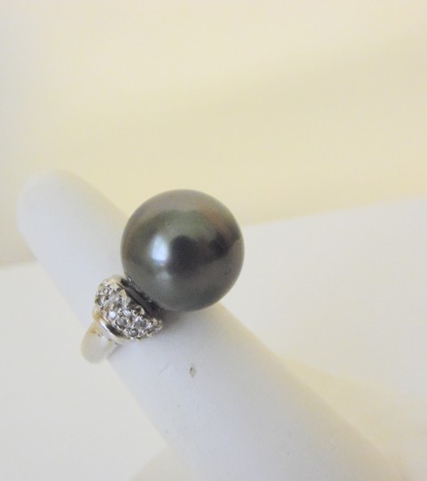Pearlfection Pearlfection .925 Faux South Sea Black Pearl Ring Size 7
