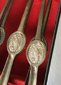 Set Of Antique Silver Lobster Picks Seafood Forks Set Of 12