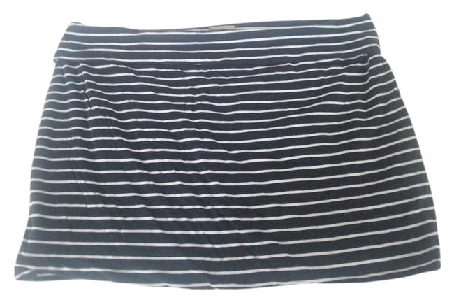 JanettePlus Mini Skirt black w/white strips