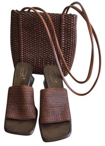 Venezia Made in Italy Italian Sandals + Nine West Purse - Brown Venezia Mules