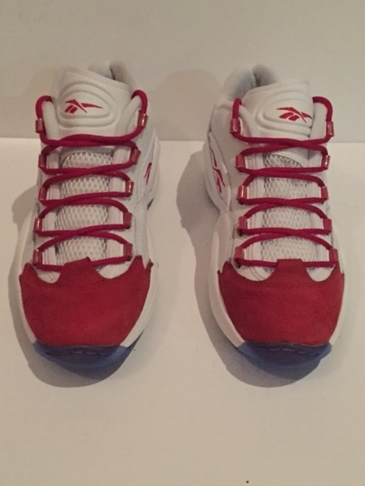 c07ef1965e10b7 Reebok White with Red Men Allen Iverson Answer Iv White Red Grey Sneakers