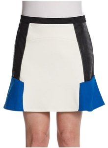 Romeo & Juliet Couture Colorblock Faux Leather Mini Skirt Ivory/Blue/Black