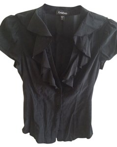 bebe Silk Cap Sleeve Top black