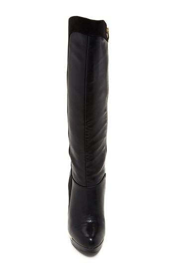 Fergie Round Toe Leather Black Boots