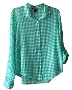 About A Girl Button Down Shirt Green and White