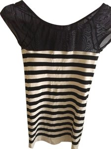 bebe Striped Sheath T-shirt Stretchy Mesh T Shirt black/white