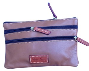 Dooney & Bourke & Brown Leather 3-zip Passport Travel Clutch