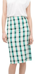 Zara Plaid Checked Summer Skirt Green