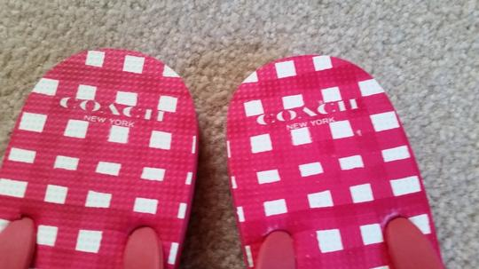 Coach Flipflops Bow Flipflops Thong Flip Flops Red and White Sandals