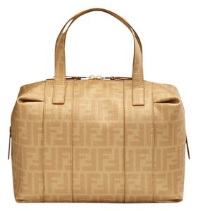 Fendi Timeless Coated Canvas Satchel in Gold