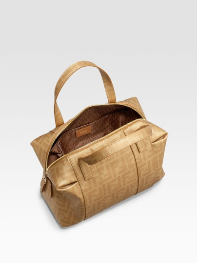 Fendi Timeless Coated Canvas Pleating Satchel in Gold