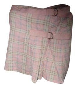 Maurices Mini Skirt pink and white plaid