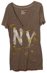 American Eagle Outfitters T Shirt Gray Yellow/White