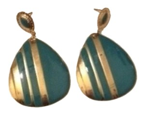 New York & Company Thin light no weight metal teal and gold striped earrings