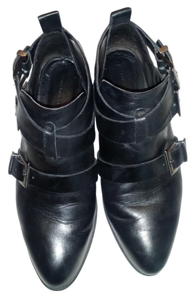 Women's Zara to Black Leather Boots/Booties Easy to Zara handle 4355c0