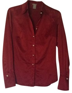 Ann Taylor Button Down Shirt Red/Maroon
