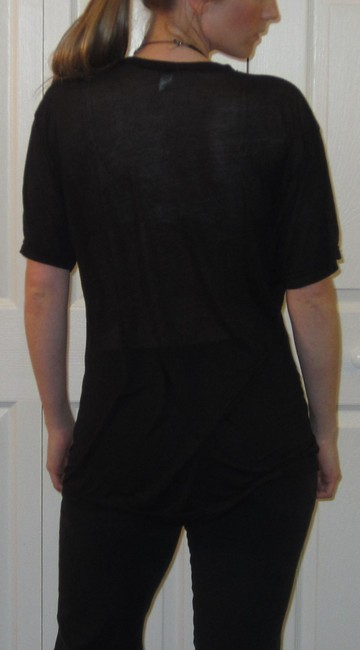 American Apparel V-neck Unisex Sheer Made In U.s.a Sleeve See Through Mens Womens T Shirt Black