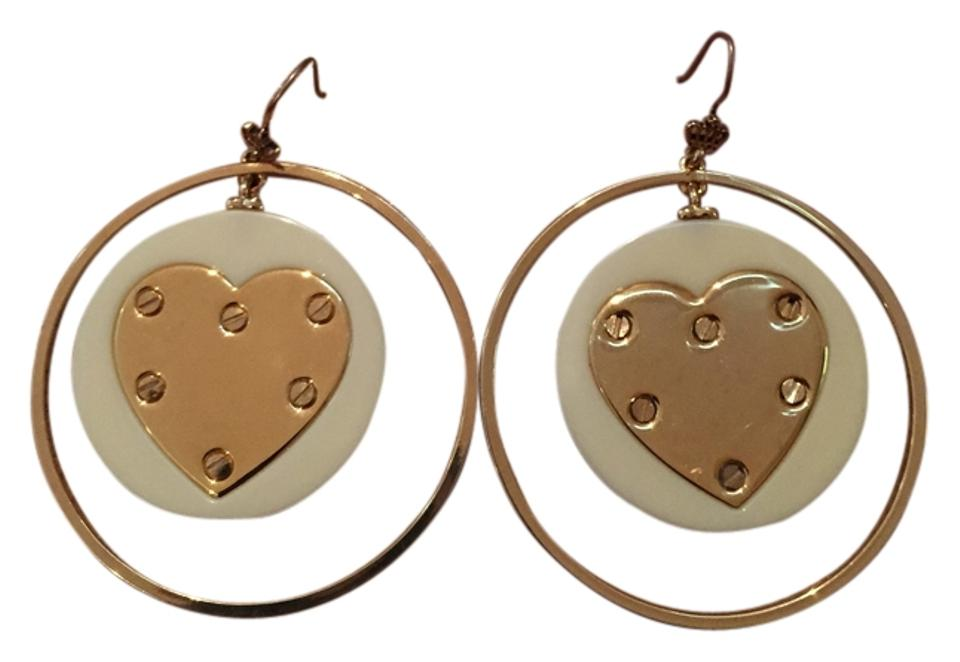 Juicy Couture Gold And White Heart Hoop Earrings
