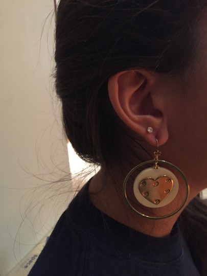 Juicy Couture Juicy Couture Gold and White Heart Hoop Earrings