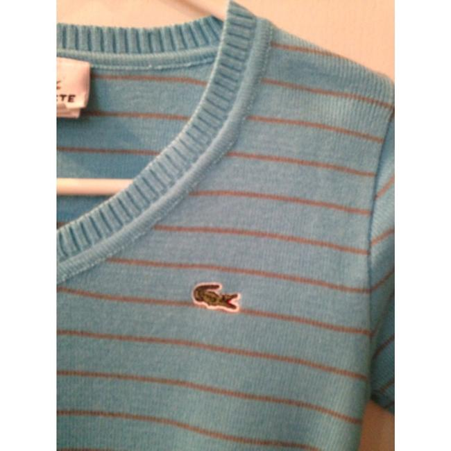 Lacoste Striped V-neck Blue Sweater