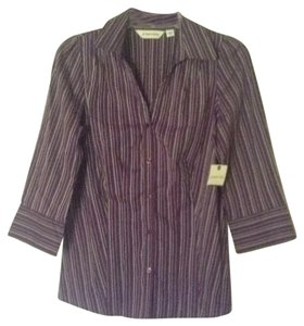 St. John Button Down Shirt Purple/Strip