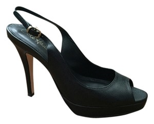 Cole Haan Peep Toe Leather Black Textured Pumps