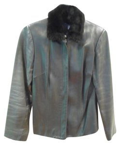 Ann Taylor Leather Faux Fur Leather Jacket