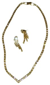 Golden Formal necklace and Earrings set