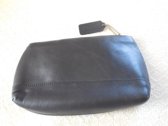 Coach Leather Logo Vintage Fabric Lining Black Clutch