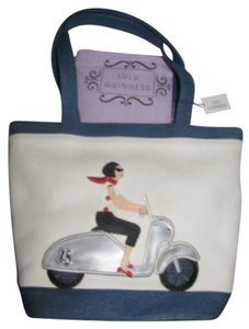 Lulu Guinness Vespa Tote Handbag Purse Mod Girl Motorcycle Shoulder Bag