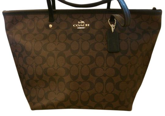 Coach New York Monogram Tote in Black/Brown