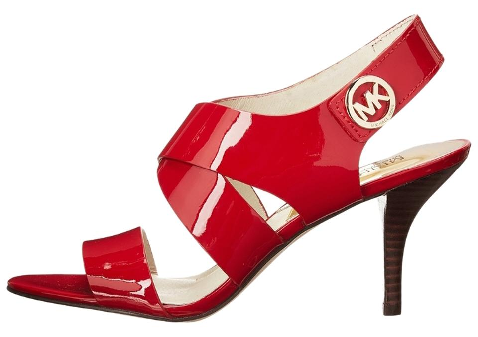 b8f20533040 Michael Kors Red Joselle Open Toe Patent Leather Mk Logo Sandals ...