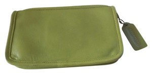 Coach Leather Logo Lime Green Clutch