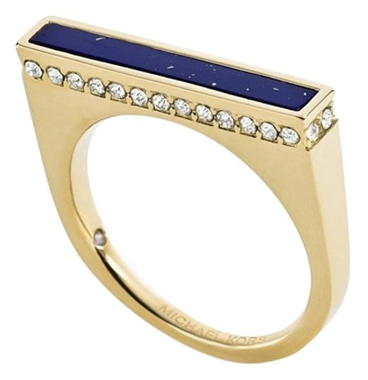 Michael Kors (SIZE 7 & 8) Gold-Tone Lapis Blue Bar Ring