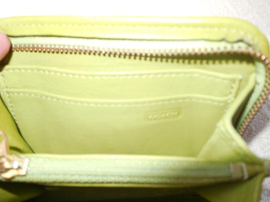 Coach Coach Lime Green Leather Card Case Wallet