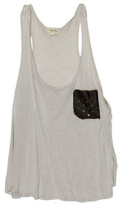 Forever 21 Top Gray/Faux leather studded pocket