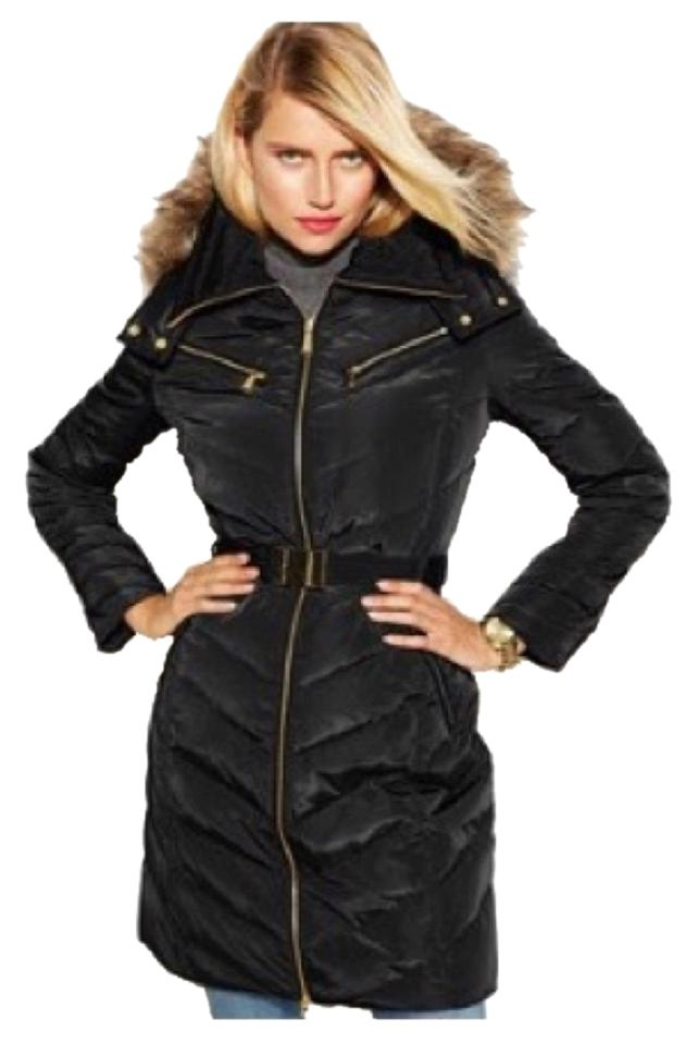 f9a158e76 Michael Kors Blac Hooded Faux-fur-trim Belted Down Puffer Coat Size 6 (S)  66% off retail