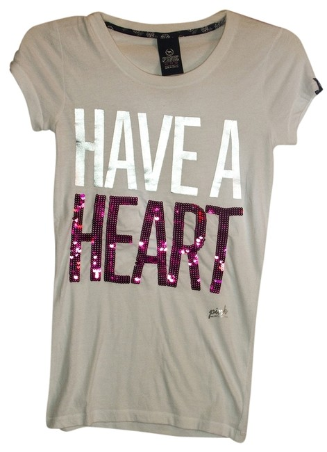 PINK T Shirt White/Silver/Pink